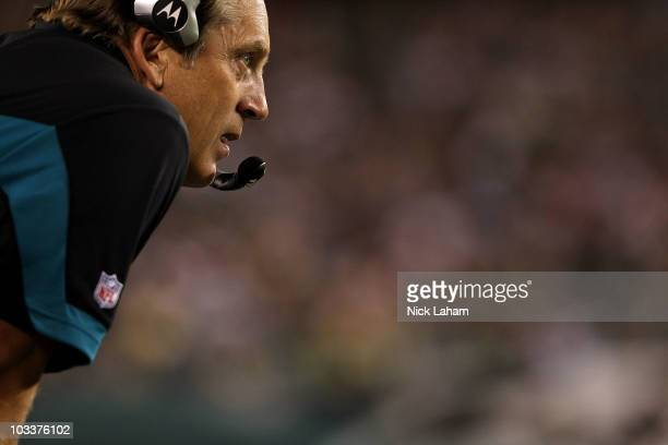 Head coach of the Jacksonville Jaguars Jack Del Rio looks on from the sideline against the Philadelphia Eagles during their preseason game at Lincoln...