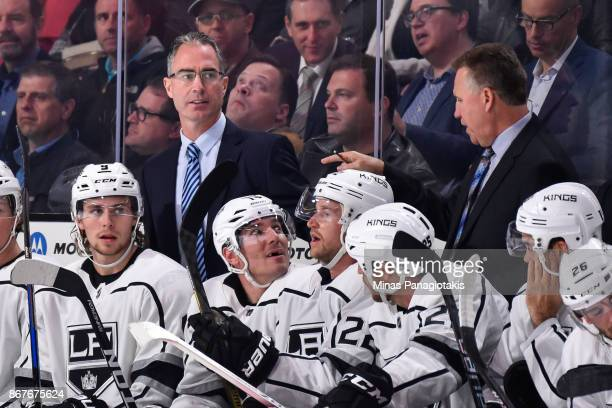 Head coach of the Los Angeles Kings John Stevens looks on from the bench against the Montreal Canadiens during the NHL game at the Bell Centre on...