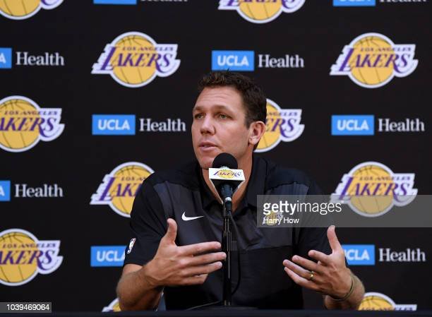 Head coach of the Los Angeles Lakers Luke Walton speaks to the press during the Los Angeles Lakers Media Day at the UCLA Health Training Center on...