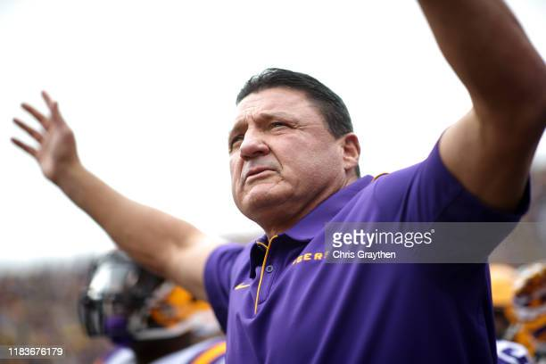 Head coach of the LSU Tigers Ed Ogeron looks on during pregame against the Auburn Tigers at Tiger Stadium on October 26, 2019 in Baton Rouge,...