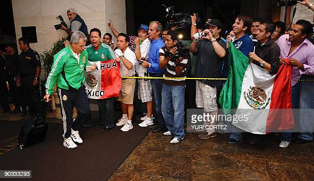 Head coach of the Mexican national football team Javier 'El Vasco' Aguirre arrives at a hotel on September 3 2009 in San Jose Mexico will face Costa...