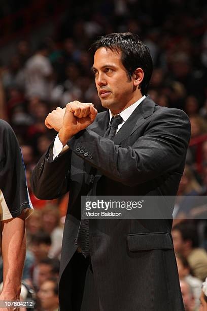 Head Coach of the Miami Heat Erik Spoelstra leads his team against the New York Knicks on December 28, 2010 at American Airlines Arena in Miami,...