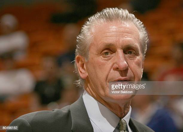 Head Coach of the Miami Heat Pat Riley leads his team against the New Orleans Hornets on April 2 2008 at the American Airlines Arena in Miami Florida...