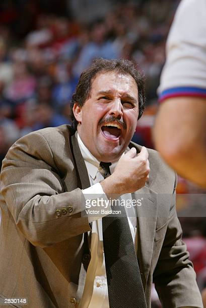 Head Coach of the Miami Heat Stan Van Gundy complains about a call against the Washington Wizards during NBA action December 23 2003 at American...