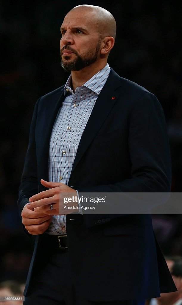 Head Coach of the Milwaukee Bucks Jason Kidd looks on during the NBA game between Milwaukee Bucks and New York Knicks at Madison Square Garden on April 10, 2015 in New York, New York.