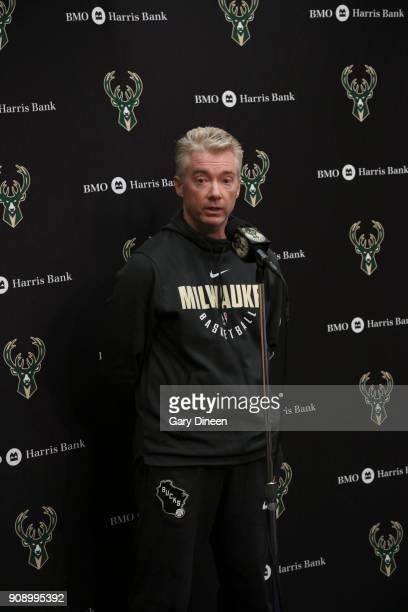 Head coach of the Milwaukee Bucks Joe Prunty speaks to media about the letting go of former head coach Jason Kidd before game against the Phoenix...