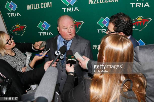 Head Coach of the Minnesota Wild Bruce Boudreau is interviewed after the game against the New Jersey Devils at the Prudential Center on November 26...