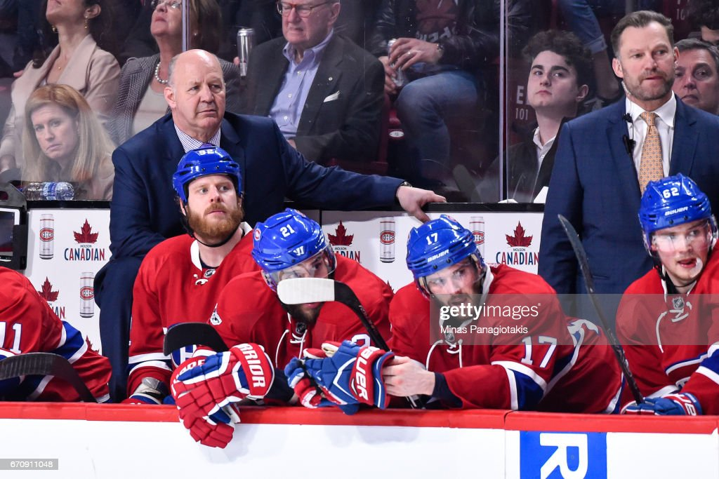 Head coach of the Montreal Canadiens Claude Julien looks on against the New York Rangers in Game Five of the Eastern Conference First Round during the 2017 NHL Stanley Cup Playoffs at the Bell Centre on April 20, 2017 in Montreal, Quebec, Canada. The New York Rangers defeated the Montreal Canadiens 3-2 in overtime.