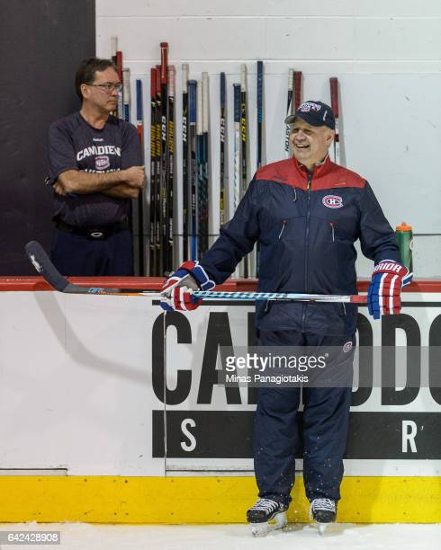 Head coach of the Montreal Canadiens Claude Julien looks on during the Montreal Canadiens practice session at the Bell Sports Complex on February 17...