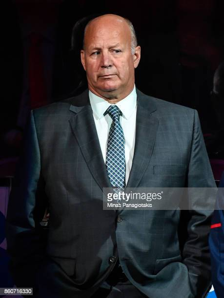 Head coach of the Montreal Canadiens Claude Julien looks on during the pre game ceremony prior to the NHL game against the Chicago Blackhawks at the...