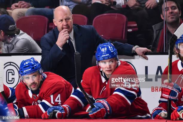 Head coach of the Montreal Canadiens Claude Julien remains focused in the first period against the Nashville Predators during the NHL game at the...