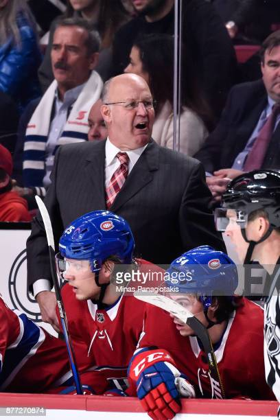 Head coach of the Montreal Canadiens Claude Julien shows his frustration against the Toronto Maple Leafs during the NHL game at the Bell Centre on...