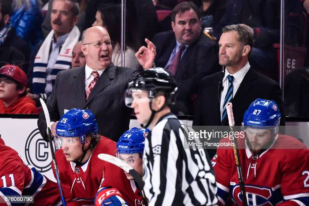 Head coach of the Montreal Canadiens Claude Julien shows his frustration while associate coach Kirk Muller looks on against the Toronto Maple Leafs...