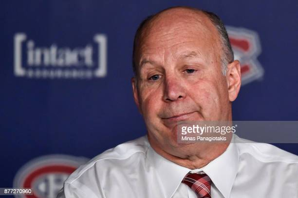 Head coach of the Montreal Canadiens Claude Julien speaks with the media after losing against the Toronto Maple Leafs during the NHL game at the Bell...