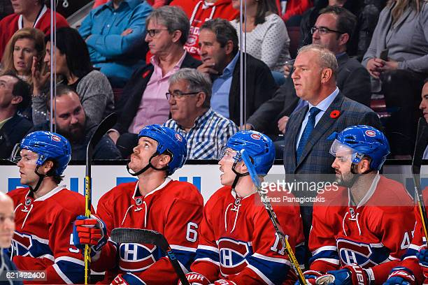 Head coach of the Montreal Canadiens Michel Therrien looks on during the NHL game against the Vancouver Canucks at the Bell Centre on November 2 2016...