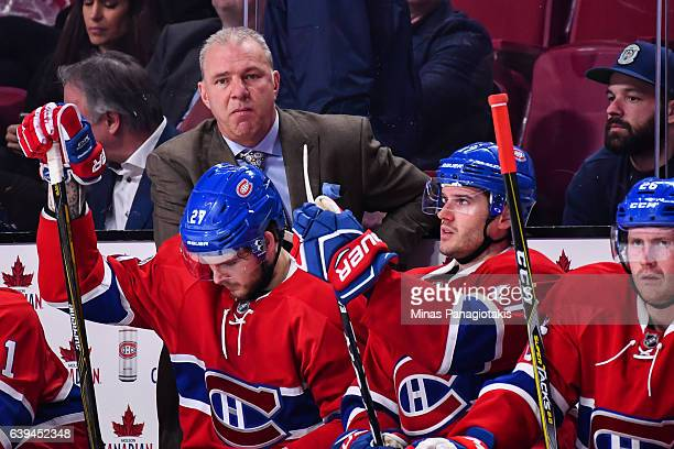 Head coach of the Montreal Canadiens Michel Therrien looks on during the NHL game against the Pittsburgh Penguins at the Bell Centre on January 18...