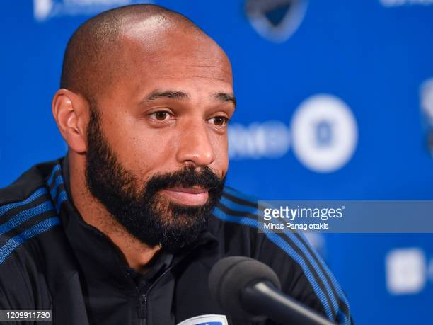 Head coach of the Montreal Impact Thierry Henry addresses the media after a victory against New England Revolution during the MLS game at Olympic...