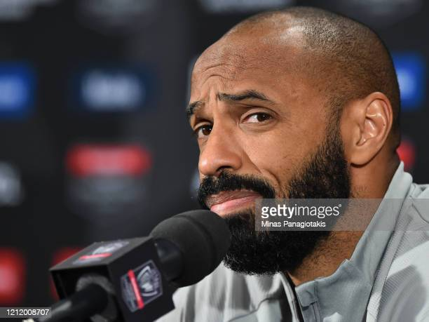 Head coach of the Montreal Impact Thierry Henry addresses the media after a loss against CD Olimpia during the 1st leg of the CONCACAF Champions...