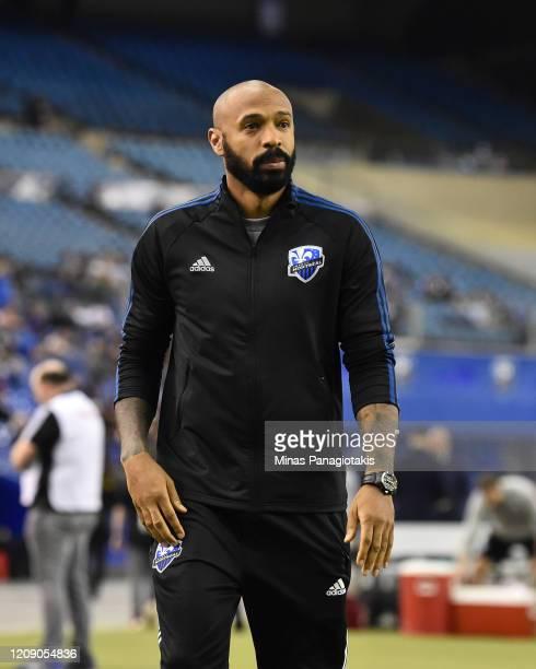 Head coach of the Montreal Impact Thierry Henry looks on during the warm-up prior to the game against Deportivo Saprissa during the 2020 CONCACAF...