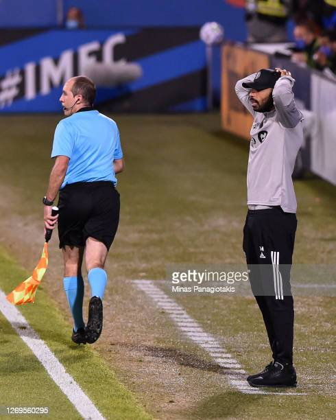 Head coach of the Montreal Impact Thierry Henry reacts during the first half of the MLS game against Toronto FC at Saputo Stadium on August 28 2020...