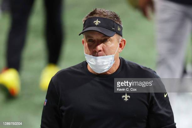 Head coach of the New Orleans Saints Sean Payton walks the sidelines prior to the game against the Atlanta Falcons at Mercedes-Benz Stadium on...