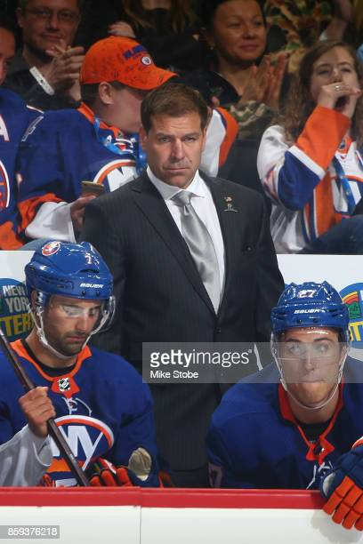 Head coach of the New York Islanders Doug Weight looks on from the bench during the game against the Buffalo Sabres at Barclays Center on October 7...
