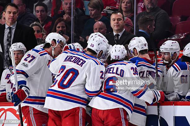 Head coach of the New York Rangers Alain Vigneault calls a timeout to regroup his team in the third period during the NHL game against the Montreal...