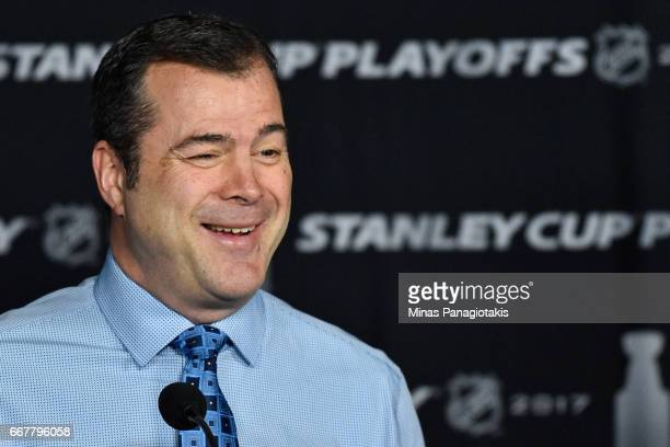 Head coach of the New York Rangers Alain Vigneault speaks to the media prior to Game One of the Eastern Conference First Round between the Montreal...