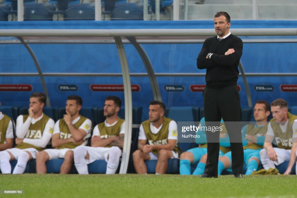 Head coach of the New Zeland national football team Anthony Hudson during the 2017 FIFA Confederations Cup match, first stage - Group A between Russia and New Zealand at Saint Petersburg Stadium on June 17, 2017 in St. Petersburg, Russia.