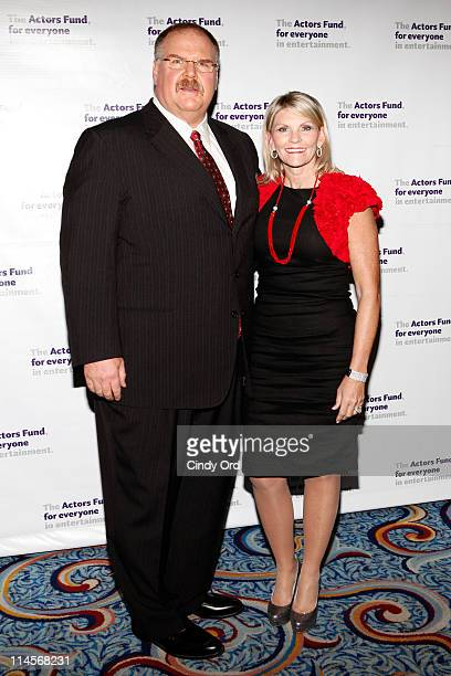 Head coach of the Philadelphia Eagles Andy Reid and Tammy Reid attend the 2011 Actors Fund Gala at Marriot Marquis on May 23 2011 in New York City
