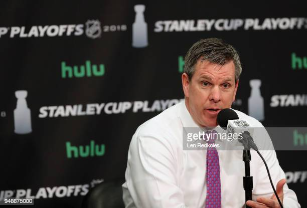Head Coach of the Pittsburgh Penguins Mike Sullivan speaks to the media after his team defeated the Philadelphia Flyers 51 in Game Three of the...