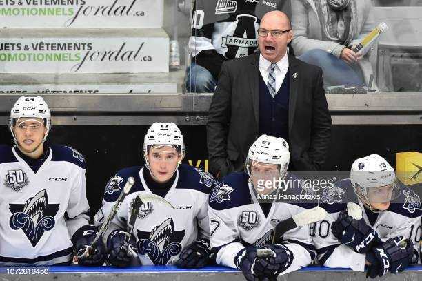 Head coach of the Rimouski Oceanic Serge Beausoleil calls out instructions against the BlainvilleBoisbriand Armada during the QMJHL game at Centre...