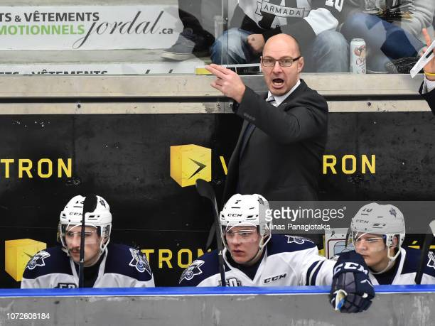 Head coach of the Rimouski Oceanic Serge Beausoleil gives out instructions against the BlainvilleBoisbriand Armada during the QMJHL game at Centre...