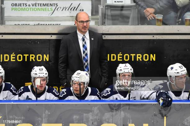 Head coach of the Rimouski Oceanic Serge Beausoleil looks on from the bench against the BlainvilleBoisbriand Armada at Centre d'Excellence Sports...