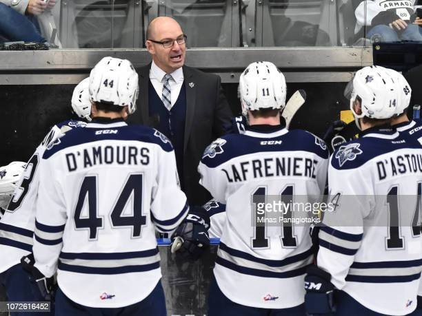 Head coach of the Rimouski Oceanic Serge Beausoleil regroups his team against the BlainvilleBoisbriand Armada during the QMJHL game at Centre...