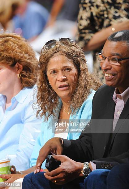 Head coach of the Rutgers women's basketball team Vivian Stringer watches the New York Liberty take on the Chicago Sky during the WNBA game on AUGUST...