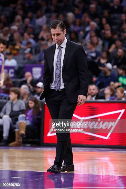 Head coach of the Sacramento Kings Dave Joerger looks on during a time out against the Memphis Grizzlies at Golden 1 Center on December 31 2017 in...