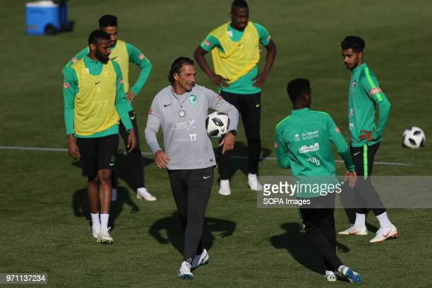 Head coach of the Saudi Arabia national football team Juan Antonio Pizzi attend a training session at Petrovsky Stadium in Saint Petersburg on ahead...