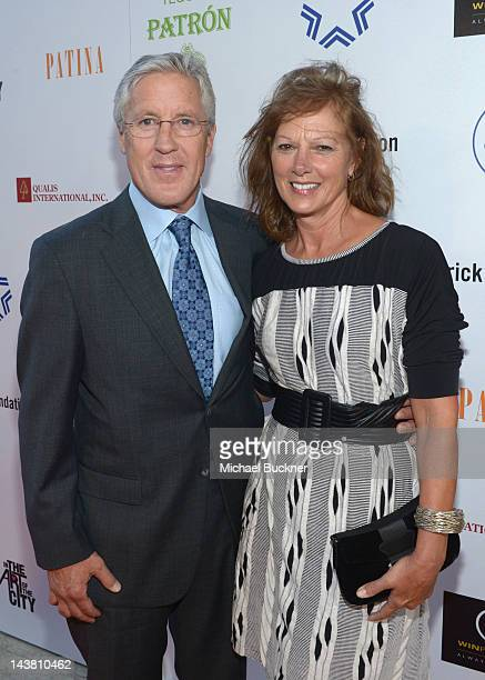 Head Coach of the Seattle Seahawks Pete Carroll and wife Glena Carroll attend A Better LA's First Annual In the Art of the City Gala held at the...