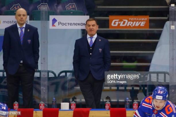 Head coach of the SKA hockey club, Valery Nikolayevich Bragin during the Kontinental Hockey League, regular season, KHL 2020/21 between SKA Saint...