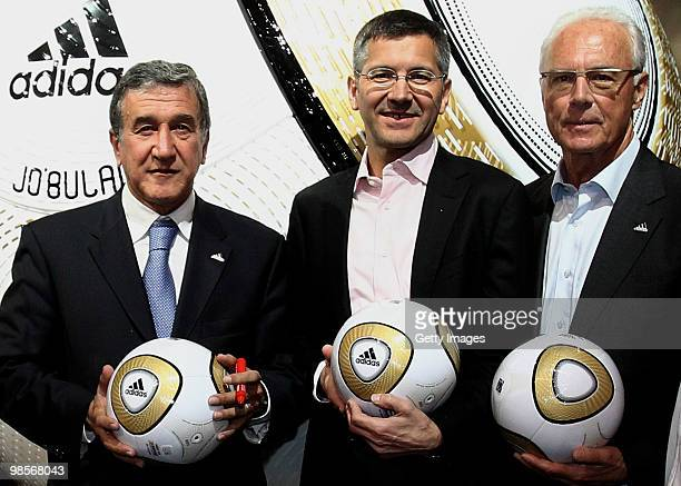 Head coach of the South African national soccer team Carlos Alberto Parreira Adidas CEO Herbert Hainer and German football legend Franz Beckenbauer...
