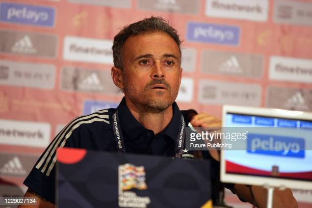 Head coach of the Spain national football team Luis Enrique is seen during the news conference ahead of the UEFA Nations League matchday 4 game...