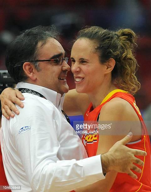 Head coach of the Spanish basketball team Jose Ignacio Hernandez celebrates the victory his team with player Amaya Valdemoro after the quarter final...