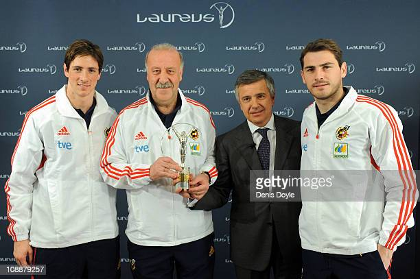 Head coach of the Spanish team Vicente del Bosque and Spanish team players Fernando Torres and Iker Casillas receive the Laureus Team award from the...