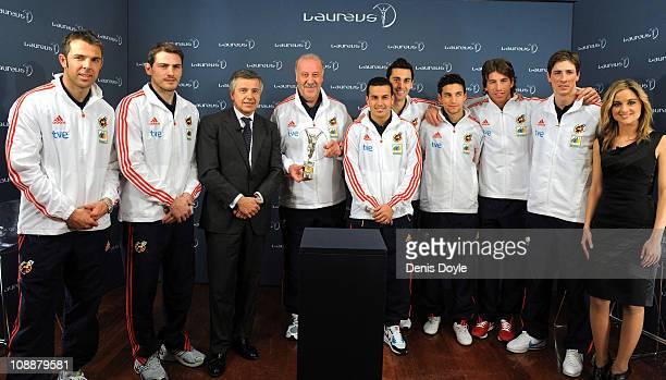 Head coach of the Spanish team Vicente del Bosque and Spanish team players Carlos Marchena Iker Casillas Pedro Rodriguez Alvero Albeloa Jesus Navas...