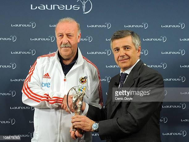 Head coach of the Spanish team Vicente del Bosque receives the Laureus Team award from the president of Laureus Foundation Spain Juan Antonio...