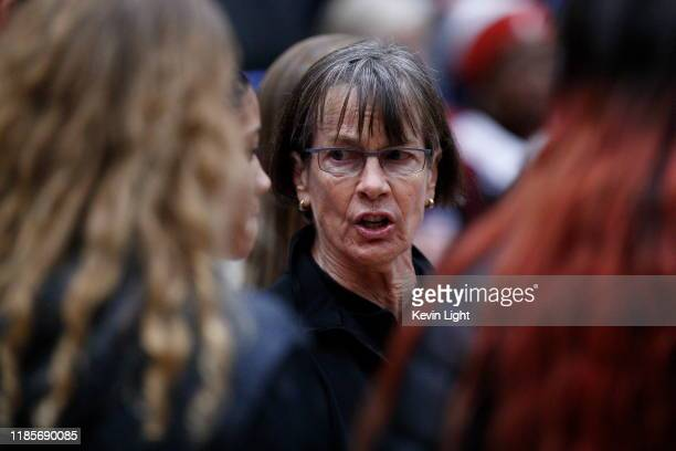 Head coach of the Stanford Cardinal Tara VanDerveer speaks to her team during a game against the Mississippi State Bulldogs at the Greater Victoria...