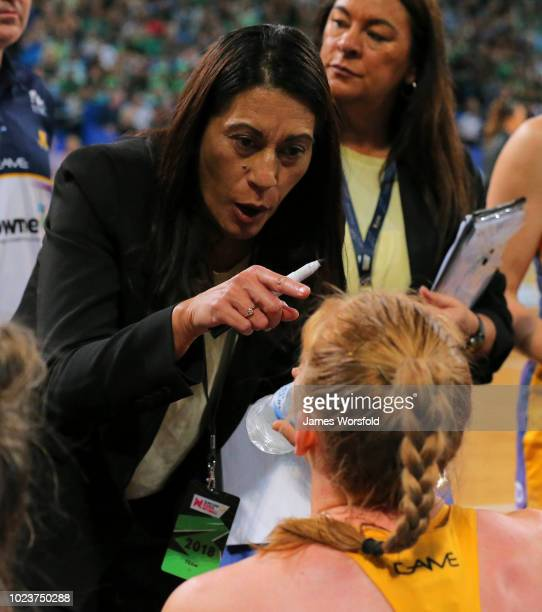 Head Coach of the Sunshing Coast Lightning Noeline Taurua talks to her players during 3 quarter time during the Super Netball Grand Final match...