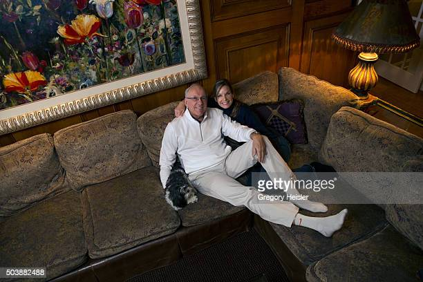 Head coach of the Syracuse men's basketball team Jim Boeheim and wife Juli are photographed for Sports Illustrated on December 12 2015 at home in...
