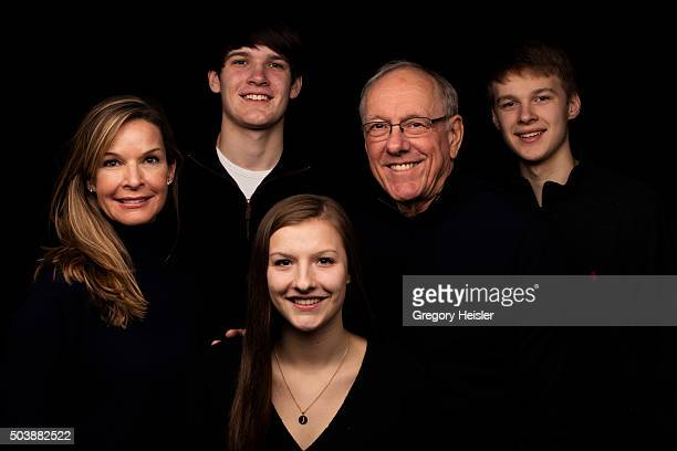 Head coach of the Syracuse men's basketball team Jim Boeheim and wife Juli are photographed with sons Jimmy and Jack and daughter Jamie for Sports...